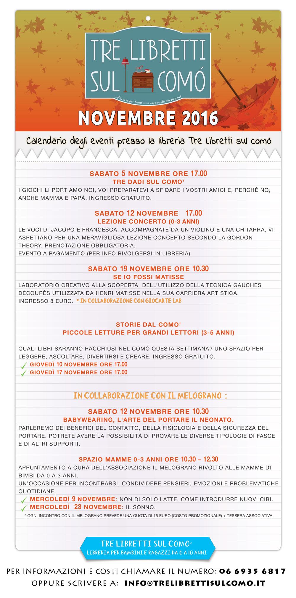 Calendario degli eventi per il mese di Novembre 2016